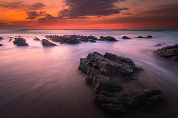 Sunset at Bidart's beach next to Biarritz, Basque Country.