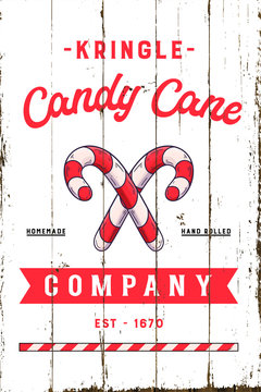 Vintage Christmas Candy Cane Company Sign with Shiplap Design