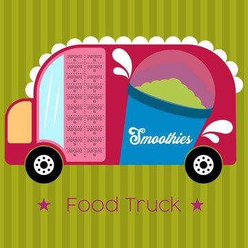 Smoothies food truck. Street food - Vector illustration