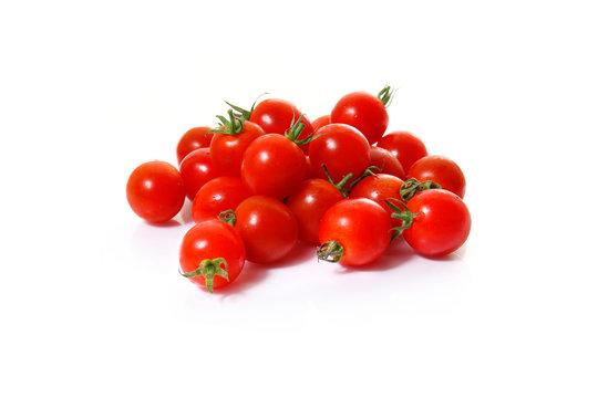fresh mini tomatoes on a white background
