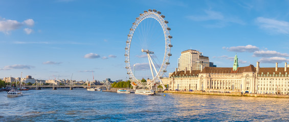 The river Thames, the Southbank and the London Eye at sunset