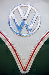 A Volkswagen emblem as seen on the front of the Volkswagen Type 2, also known as a VW Bus.