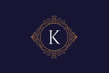 Luxury gold and blue logo design template vector illustration for Restaurant, Royalty, Boutique, Cafe, Hotel, Heraldic, Jewelry and Fashion. Ornament shapes for logotype or badge design.