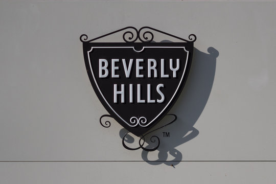 The famous Beverly Hills symbol and sign on the exterior of the Beverly Hills Police Station.