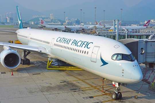 HONG KONG -18 JUL 2019- View of an Airbus A350 airplane from Cathay Pacific (CX) at the busy Hong Kong International Airport (HKG), located in Chek Lap Kok.
