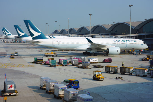 HONG KONG -18 JUL 2019- View of airplanes from Cathay Pacific (CX) at the busy Hong Kong International Airport (HKG), located in Chek Lap Kok.
