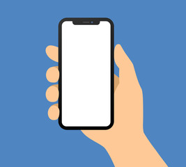Human hand holding bezel-less smartphone / mobile cellular phone flat vector illustration