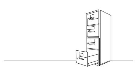continuous line drawing of big office file cabinet
