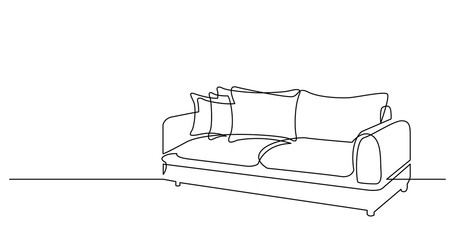 Fototapeta continuous line drawing of couch sofa with cushions obraz
