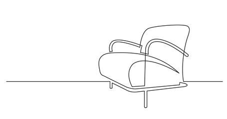 continuous line drawing of modern comfortable armchair