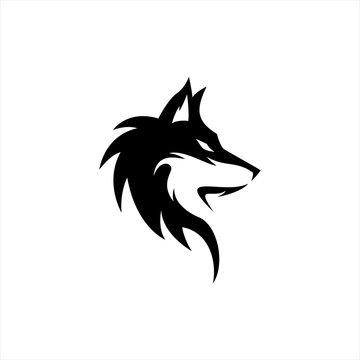 wolf silhouette logo design vector template