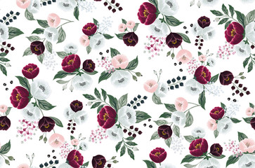 Wall Mural - Vector illustration of a seamless floral pattern in spring for Wedding, anniversary, birthday and party. Design for banner, poster, card, invitation and scrapbook