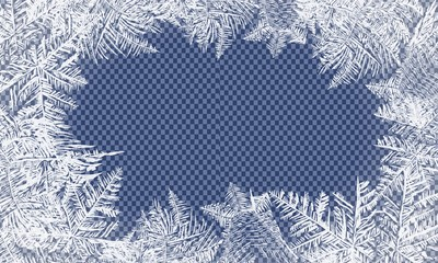 Falling Christmas snow. Snowflakes isolated on transparent background. Vector Patterns Made by the Frost. Blue Winter Background for Christmas Designs.