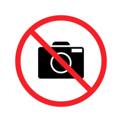 No taking pictures. High quality prohibition sign isolated on white. City public signs.