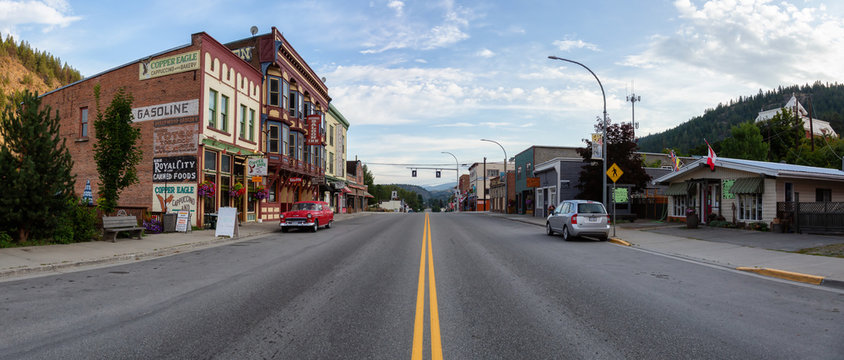 Greenwood, British Columbia, Canada - August 31, 2019: Beautiful View of a Small Historic Town in BC during a cloudy summer morning.