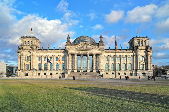 """Reichstag building in Berlin, Germany. Dedication on the frieze means """"To the German people""""."""
