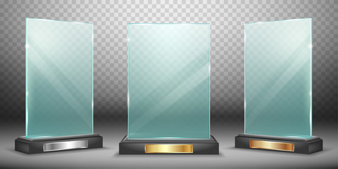 Glass trophy or winner award realistic vector illustration. Transparent crystal or acrylic frame on black pedestal with gold silver and bronze plate, isolared side and front view with light and shadow
