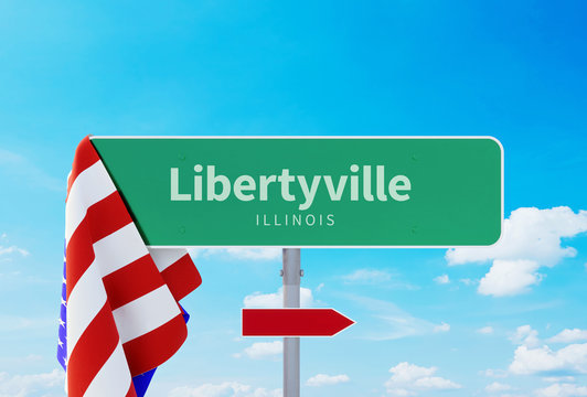 Libertyville – Illinois. Road or Town Sign. Flag of the united states. Blue Sky. Red arrow shows the direction in the city. 3d rendering