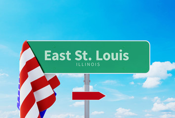 East St. Louis – Illinois. Road or Town Sign. Flag of the united states. Blue Sky. Red arrow shows the direction in the city. 3d rendering