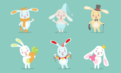 Wall Mural - Cute Little Bunnies Characters Set, Adorable Happy Rabbits in Different Situations Vector Illustration