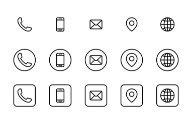 3 Different contact information icons in vector, Black