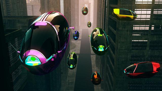 Autonomous Future Electric Vehicles in Night City 3D Illustration