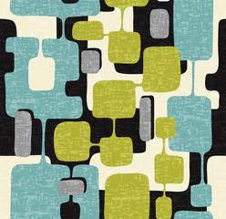 Motif moderne abstrait sans couture du milieu du siècle pour les arrière-plans, le design textile, le papier d& 39 emballage, les albums et les couvertures. Conception rétro de formes rectangulaires superposées connectées. Illustration vectorielle.