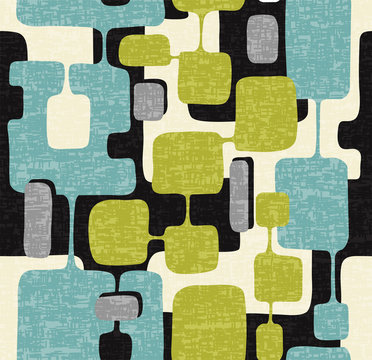 Seamless abstract mid century modern pattern for backgrounds, textile design, wrapping paper, scrapbooks and covers. Retro design of connected overlaying rectangle shapes. Vector illustration.