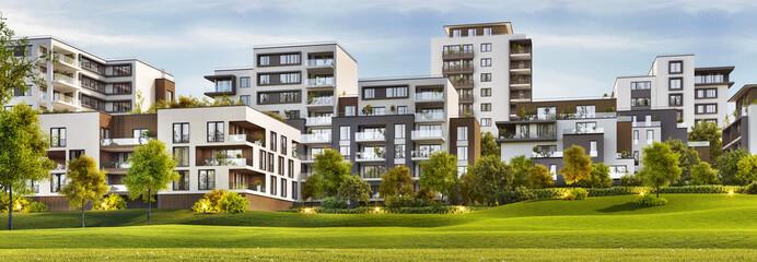 Fototapeta Scenic view of modern architecture of apartment buildings obraz