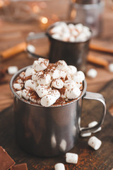 Fotobehang Chocolade Cup of hot chocolate with marshmallows on table
