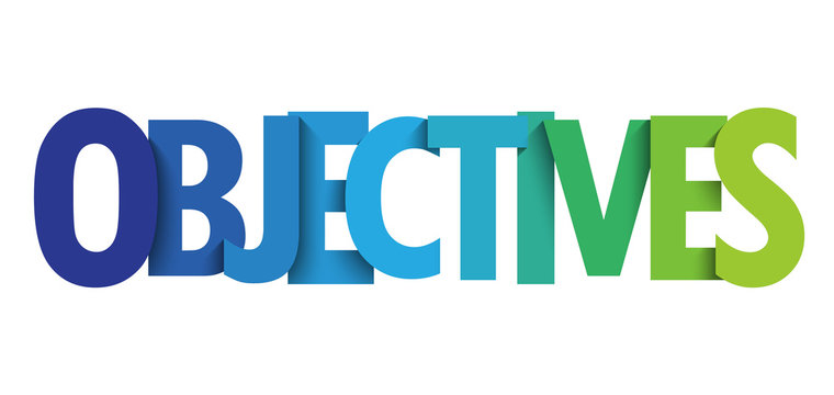 OBJECTIVES colorful gradient typography banner