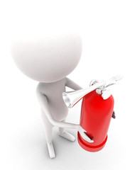3d man holding fire extinguisher concept