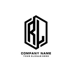 RL initials business abstract logo in the shape of a hexagon, with a thick line connected around the letters