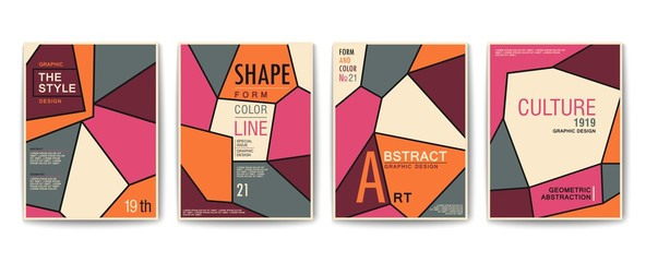 Modern geometric poster in a trendy style of abstraction art. Composition of abstract lines. Vector covers set.