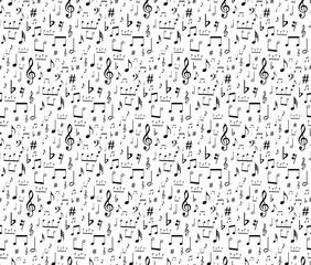 seamless musical symbols and marks seamless background with musical notes,  Seamless pattern with music notes  vector