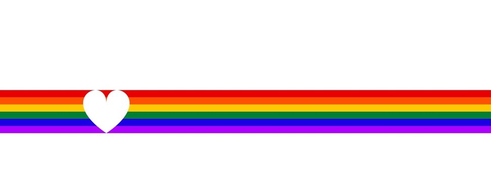 LGBT flag with heart. Symbol lesbian, gay, bisexual, transgender rainbow flag. Poster, card, banner, background