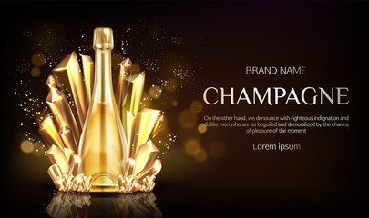 Champagne bottle with gold crystal grains on black blurred background with shining sparkles. Closed blank bubbly flask with sparkling vine drink and cork. Realistic 3d vector illustration, banner.