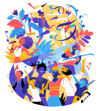 Poster for summer music festival, celebration, holiday party. A group of people is happy to be together celebrating a special event. Vector illustration