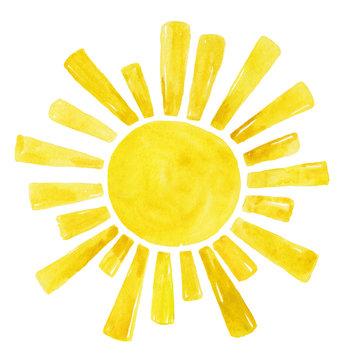 Yellow Watercolor sun, cartoon illustration