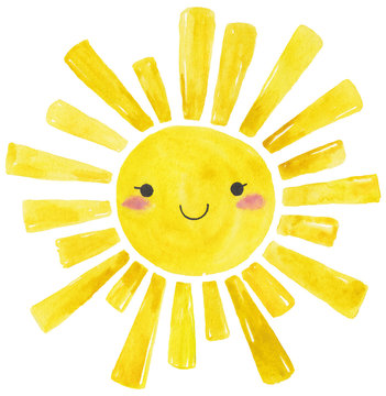 Yellow Watercolor sun, cartoon illustration