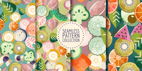 Custom vertical slats with your photo Trendy food seamless patterns collection. Good for leaflets, cards, posters, prints, menu, booklets