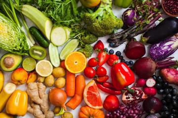 Natural vitamins and antioxidants food rainbow top view.