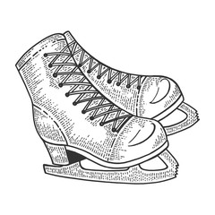 Skates sketch engraving vector illustration. Scratch board style imitation. Hand drawn image.