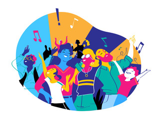 Group of people of different ages is happy to be together dancing and celebrating a special event. Happy family enjoy concert, music festival, party, show, performance, recital. Vector illustration