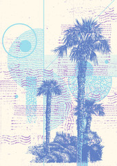 Hand Drawn Abstract Background with With Palm Trees, vector illustration