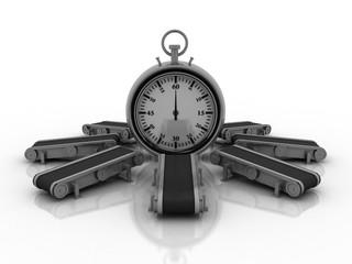 3d rendering stopwatch with conveyor belt