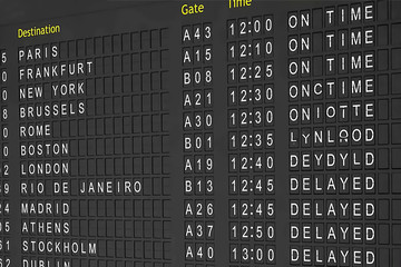 Departures board at the airport. Flight information electronically timetable. Split flap mechanical departures board. Flight schedule. Scoreboard flights