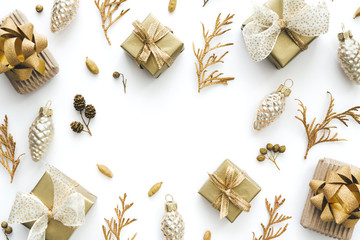 Christmas Background With Small Christmas Gifts In Gold And White