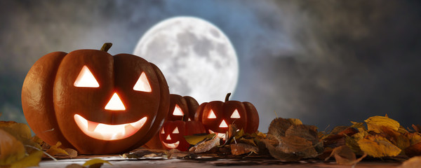 View of a Halloween night scene with lantern in pumpkin - 3d rendering