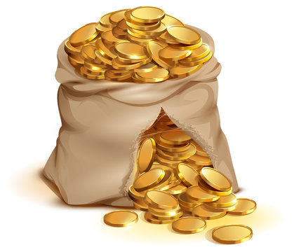 Full bag of gold coins burst. Cash gold money